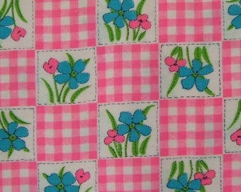 Vintage 70s Hot Pink Gingham and Floral Soft Cotton Flannel Fabric 2.25 yards 46 inch wide