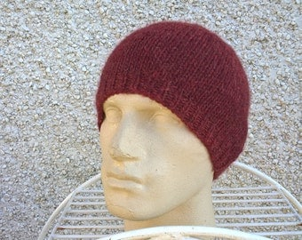 OMBRE for HOMBRE L large cap hat toque for men alpaca wool seamless soft feel hand knit