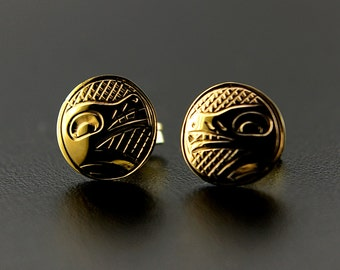 "14k Gold Northwest Coast Native American Wolf Stud Earrings .25"" Diameter"