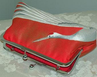 Handmade Silk Kimono Fabric Bag/Purse/Clutch.Embroidered Crane.Rhinestones.Bridal/Wedding.Long Island Bride Gift.Red Gold/OOAK/Shawl Shrug
