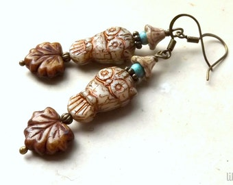 Boho owl and leaf earrings, rustic Czech glass