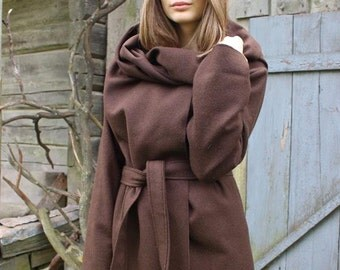 Street style hand made brown coat with belt/ wool cape/ warm coat for women