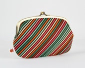 Metal frame purse with two sections - Diagonal stripes in green brown and pink - big siamese / modern geometric / orange gingko leaves