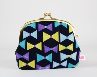 Metal frame purse with two sections - Ribbons in green and blue - Pop up / Kawaii japanese fabric / Navy blue neon green purple