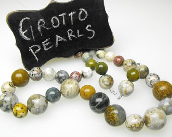 OCEAN JASPER BEADS 00424-5-6g 18in precious gemstone natural obicular green white round diy necklace earring set kit smooth polished strand