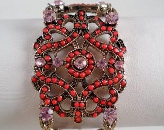 Beautiful Sparkling Pink Austrian Crystals Victorian Style Bracelet