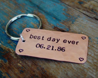 Best Day Ever Keychain, Personalized Wedding Date, Groom Gift,Bride Gift, Custom Hand Stamped, Copper Gift, Mens Key Chain, Anniversary Gift