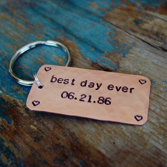 Best Day Ever Wedding Anniversary Gift Hand Stamped Date