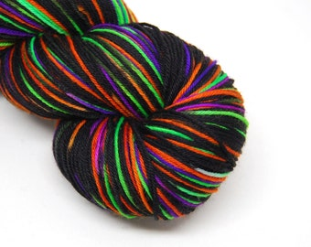 "Hardcore Sock Yarn - ""Ultrafright at Night"" - Handpainted Superwash Merino - 463 Yards"