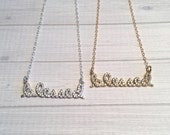 Blessed Necklace, Micro Pave Crystal Necklace, Valentine Gift, Inspirational Jewelry