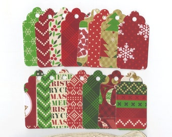 Christmas Candyland Scallop Die Cut Gift Hang Tags (18) Favor Bag Tags / Ready To Ship