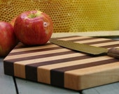 Hexagon Striped Cutting Board or Serving Platter  maple and black walnut hardwood with FREE wood conditioner