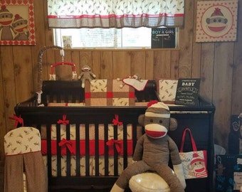 Sock Monkey Boutique Crib Mini Crib Toddler NurseryNeutral Bedding Set