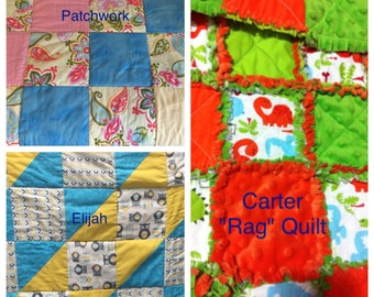 YOU DESIGN Custom Made to Order Crib Baby Quilt Pick Your Fabrics