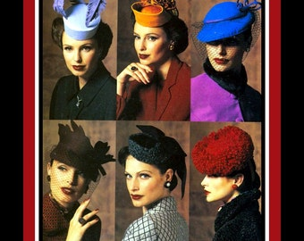 1940's COUTURE STYLE MILLINERY-Vogue Sewing Pattern-Six Stunning Styles-Fascinator-Pillbox-Veil-Feathers-Fabric Flowers-One Size-Uncut-Rare