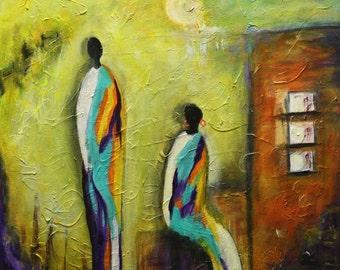 "Original, Handmade, Abstract, Acrylic Painting, Art   By Maite Tobon ""City at Night""  20""W x 20 "" H"
