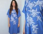 under the blue -- vintage indonesian muumuu caftan dress S/M/L