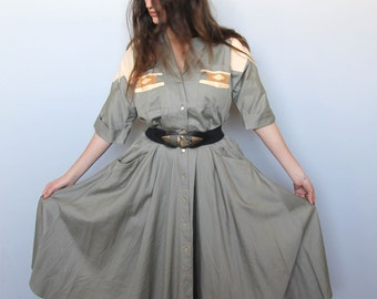the real thing -- vintage 80s shirt dress with leather and snakeskin details M/L