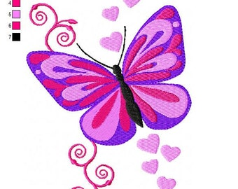 Butterfly with Swirls and Hearts 2 Embroidery Design