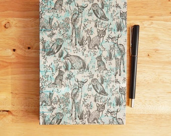 Woodland Journal, hand bound notebook with Forest Animals in aqua and gray.