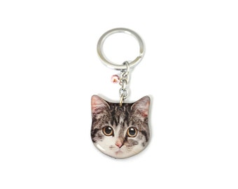 Sweet Little Tabby Cat Kitten Keychain - A015K-C41  Made To Order