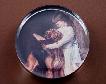 Bloodhound Dog, Dog Paperweight, Compulsory Education, Charles Barber, Dog Painting, Large Round, Glass Paperweight, Dog Lover, Home Decor