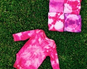 Tie Dyed Onesie in Pink Tie Dye with Long Sleeves - Size 000 0-3 months