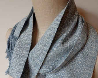 Handwoven Scarf  in Hand Dyed Natural Indigo Organic Cotton and Merino-Silk