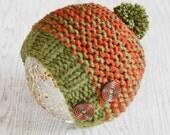 Baby Hat, Boys Beanie Hat, Newborn hat, Chunky Knit, Hat, Rust and Khaki