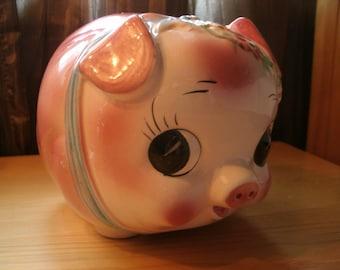 Vintage Pink Piggy Penny Bank