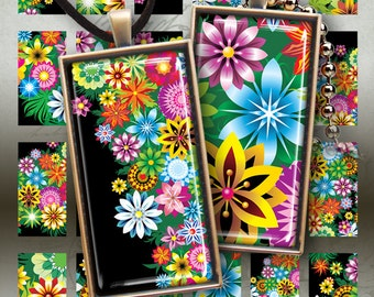 Printable Download CANDY FLOWERS Digital Collage Sheet 1x2 inch size images for domino glass or resin pendants photo trays magnets ArtCult