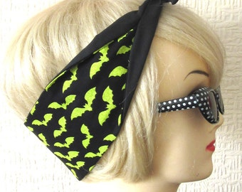 Bat Print Hair Tie Green Psychobilly horror by Dolly Cool