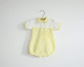 Vintage Yellow and White Baby Romper