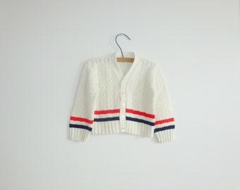 Vintage Cream Striped Baby Cardigan