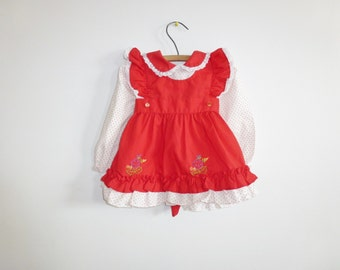 Vintage Red and White Baby Dress