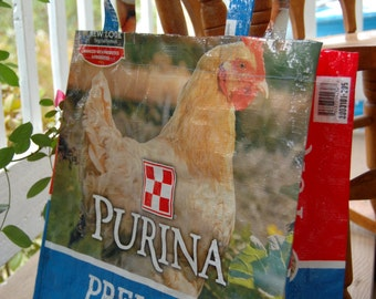 Medium Recycled Feed Bag Market Totes--Blue Hen