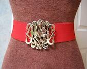 Vintage red elastic stretch belt, red adjustable belt with goldtone buckle,  monogram look goldtone buckled red belt, wide red stretch belt