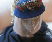 Vintage cobalt blue feather trimmed small hat, navy blue dotted feathers cap hat, blue fur blend multi color feathered hat, retro blue hat