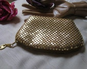 Vintage small gold metal mesh cosmetic case, goldtone metal mesh zip top coin purse, small gold metal mesh evening bag