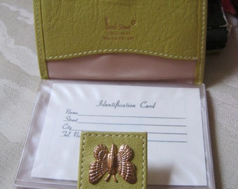 Vintage never used small butterfly wallet, yellow/green small credit card wallet, butterfly clasp citron color ID card holder, Bond Street