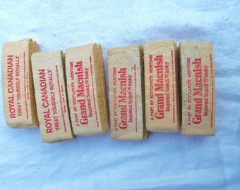 6 Vintage Advertising Bar Sponge Grand Macnish Scotch & Royal Canadian Whiskey