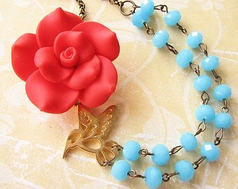 Flower Necklace Statement Necklace Aqua Jewelry Beaded Necklace Bridesmaid Jewelry Gift For Her