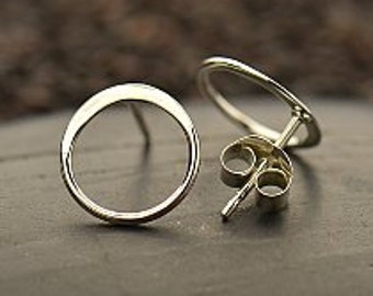 Sterling Silver Hammered Circle Post Earrings 10mm, .80mm thick, 925 silver