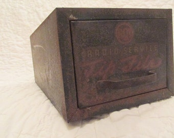 Vintage Industrial One Drawer File Metal Advertiseing on front of drawer