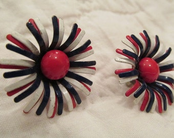 Vintage Floral Clip Earrings Red White & Blue SALE