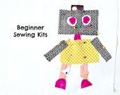Robot Sewing Kit Boys Sewing Kit Sew a Pillow Sew a Wall Hanging 8.5x8 Beginner Sewng Kit Kids Sewing Kit