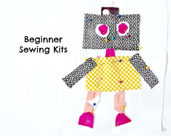 Robot Sewing Kit Boys Sewing Kit Sew a Pillow Sew a Wall Hanging 8.5x8 Beginner Sewng Kit Kids Sewing Kit