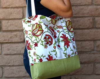 SALE! Red and Green Floral Bag or Tote Lined Tote Cotton Tote Red Floral Bag Cotton Bag