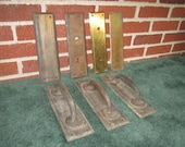 Antique 7 Piece Lot of Brass Door Handle Push Plate Hardware