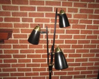 Vintage Mid Century Modern Black Metal Floor Lamp with Three Adjustable Lights
